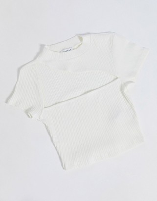 Topshop crop top with slash neck in white