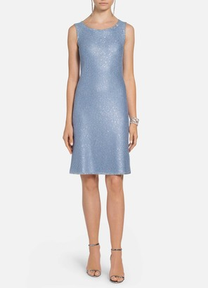 St. John Luxe Sequined Tuck Knit A-Line Dress
