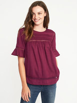 Old Navy Pintucked Lace-Trim Blouse for Women
