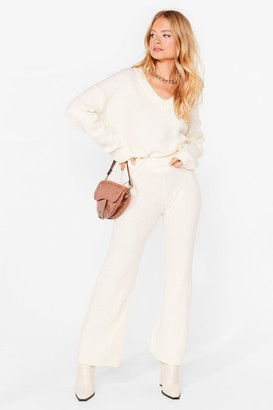 Nasty Gal Womens Two For the Road Knit Jumper and Trousers Set - White - L