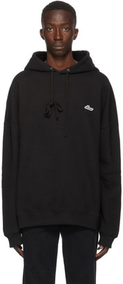 we11done Black Embroidered Logo Hoodie