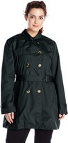 Big Chill Women's Plus-Size Double Breasted Trench Coat with Belt