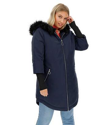 Simply Be Navy Faux Fur Lined Parka with Rib Cuff
