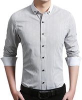 QZUnique Men's Big & Tall Plaid Pattern Slim Fit Long Sleeve Cotton Dress Shirt M