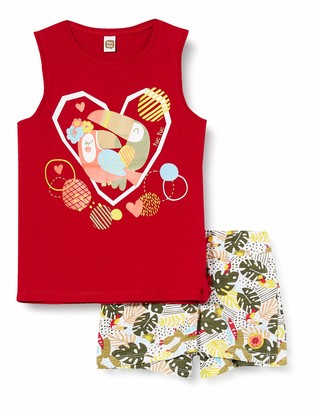 Tuc Tuc RED Printed Jersey T-Shirt and Shorts Set for Girl Tropical Jungle