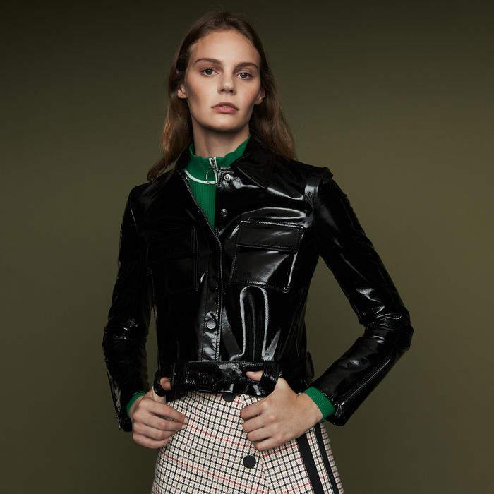 Maje Cropped lambskin leather jacket