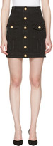 Balmain Black Denim Buttons Miniskirt