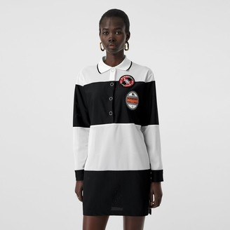 Burberry Logo Graphic Striped Mesh Polo Shirt Dress