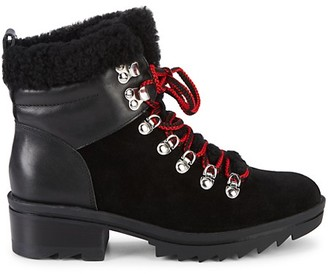 Marc Fisher Brylee Suede Leather Shearling-Trim Combat Boots