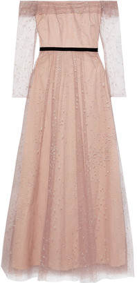 Marchesa Off-the-shoulder Pleated Flocked Glittered Tulle Gown