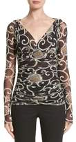 Fuzzi Print Tulle Ruched Top
