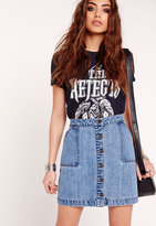 Missguided Patch Pocket A-Line Denim Skirt Blue