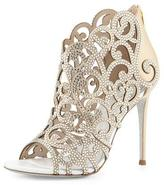 Rene Caovilla Scroll Laser-Cut Crystal 105mm Bootie, White