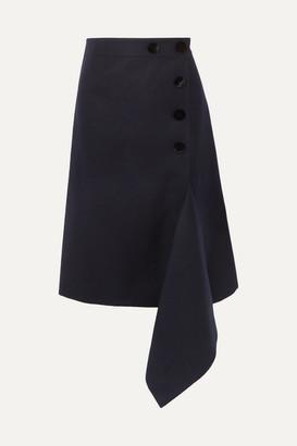 Sacai Melton Asymmetric Button-embellished Wool Skirt - Navy