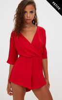 PrettyLittleThing Petite Red Wrap Front Playsuit