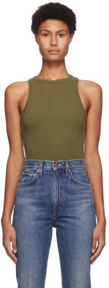 AGOLDE Green Rib High Neck Tank Top