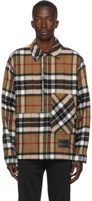 we11done Brown Wool Check Half-Zip Anorak Shirt