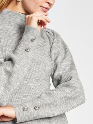 River Island Volume Sleeve Knitted Midi Dress - Grey