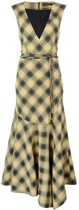 Derek Lam V-Neck Gauze Plaid Dress with Asymmetric Hem