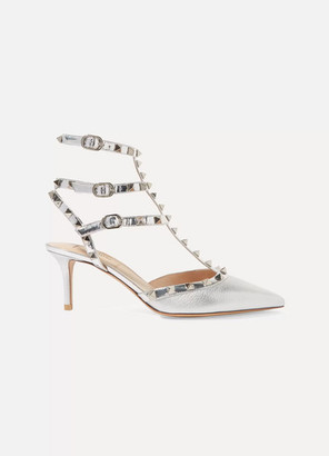 Valentino Garavani The Rockstud Mirrored And Metallic Textured-leather Pumps - Silver