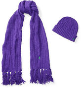 Polo Ralph Lauren Aran-Knit Scarf & Hat Gift Set