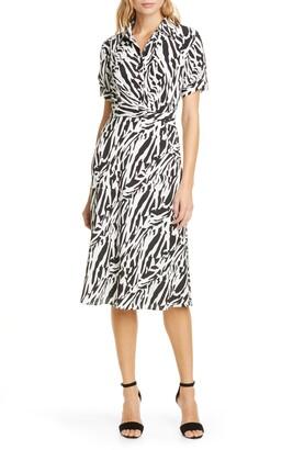 Diane von Furstenberg Deborah Animal Print Silk Shirtdress