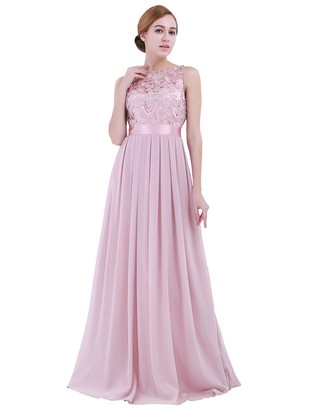 dPois Women's Floral Lace Wedding Bridesmaid Party A-Line Empire Waist Prom Ball Gown Floor Length Maxi Dress