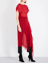 Isabel Benenato Flared-hem semi-sheer silk dress