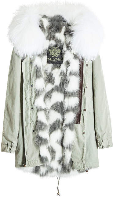 Mr & Mrs Italy Saline Rosemary Cotton Parka with Raccoon and Fox Fur