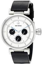 Issey Miyake Women's SILAAB02 W Mini Stainless Steel Watch with Black Genuine Leather Band