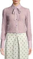 Valentino Button-Down Lace Blouse with Necktie