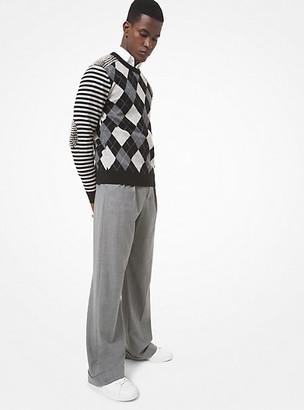 Michael Kors Studded Argyle Cashmere Sweater - Black