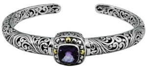 Devata Amethyst (2-5/7 ct. t.w.) Bali Heritage Classic Cuff Bracelet in Sterling Silver and 18k Yellow Gold Accents (Also Available in Garnet)
