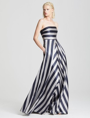 Halston Stripe Structure Gown