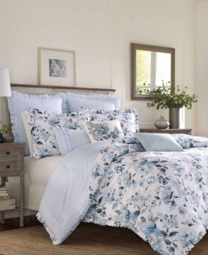 Laura Ashley Chloe Cottage Blue Comforter Set, King Bedding