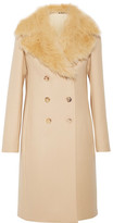 The Row Roza Shearling-trimmed Double-breasted Wool-twill Coat - Sand