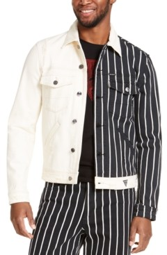 GUESS Men's Striped And Solid Denim Jacket