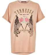 River Island Woplus Pink 'tennessee' Print T-shirt