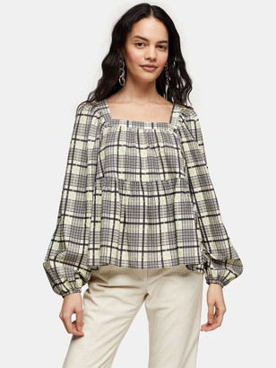 Topshop Check Smock Top - Green