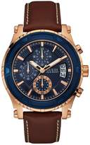 GUESS Men's Brown and Rose Gold-Tone Leather Sport Watch