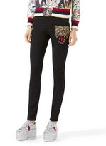 Gucci Angry Cat Embroidered Denim Pants, Black
