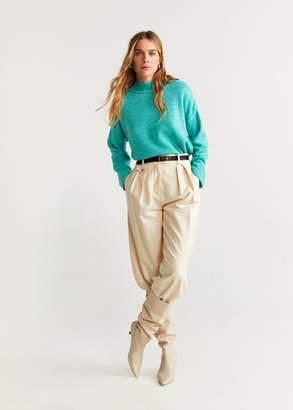 MANGO Rolled-up sleeves sweater pastel yellow - XXS - Women