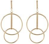 Natasha Accessories Double Bar Circle Earrings