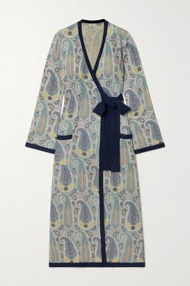 Etro Paisley-print Knitted Wrap Midi Dress - Navy