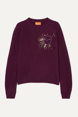 LE LION Scorpio Embellished Embroidered Wool Sweater