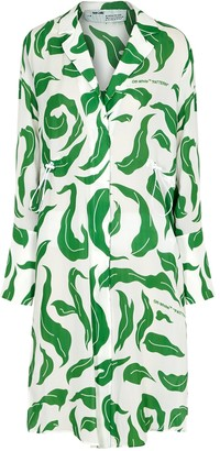 Off-White Leaves Illusion Coulisse printed shirt dress