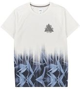 Burton Mens White and Blue Floral Fade T-Shirt