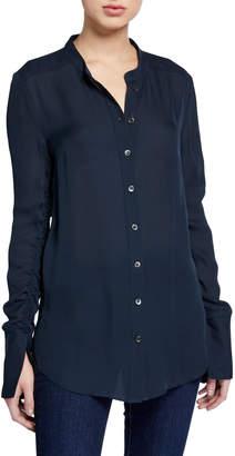Veronica Beard Nye Ruched-Sleeve Silk Tunic