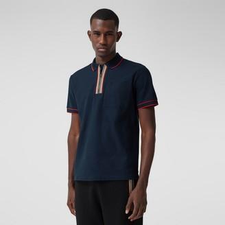 Burberry Icon Stripe Detail Cotton Zip-front Polo Shirt