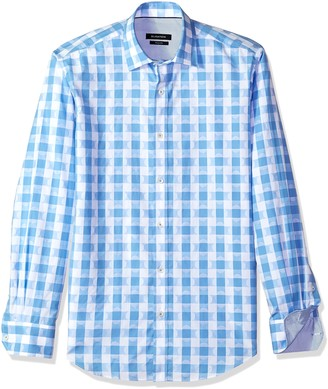 Bugatchi Men's Fitted Long Sleeve Quaterfoil Checks Sports Shirt